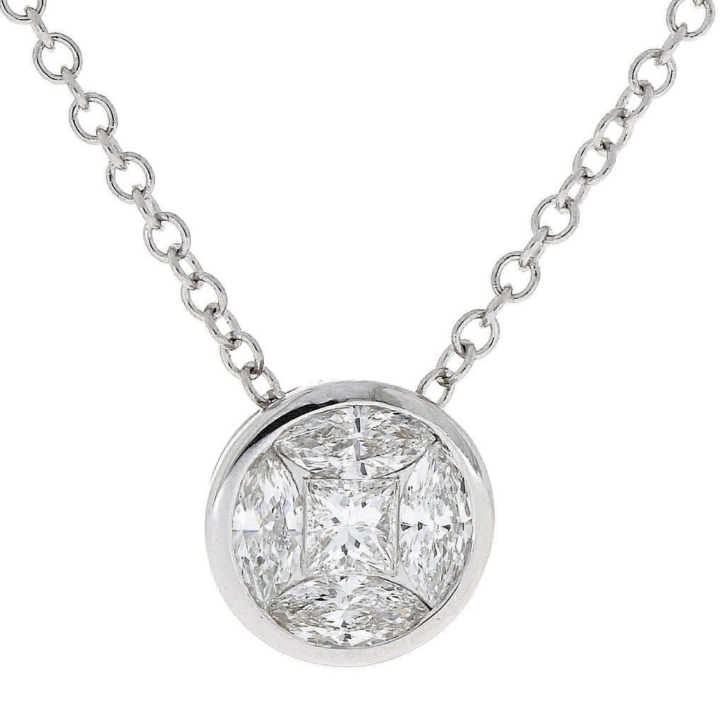 18ct White Gold Princess Cut Necklace
