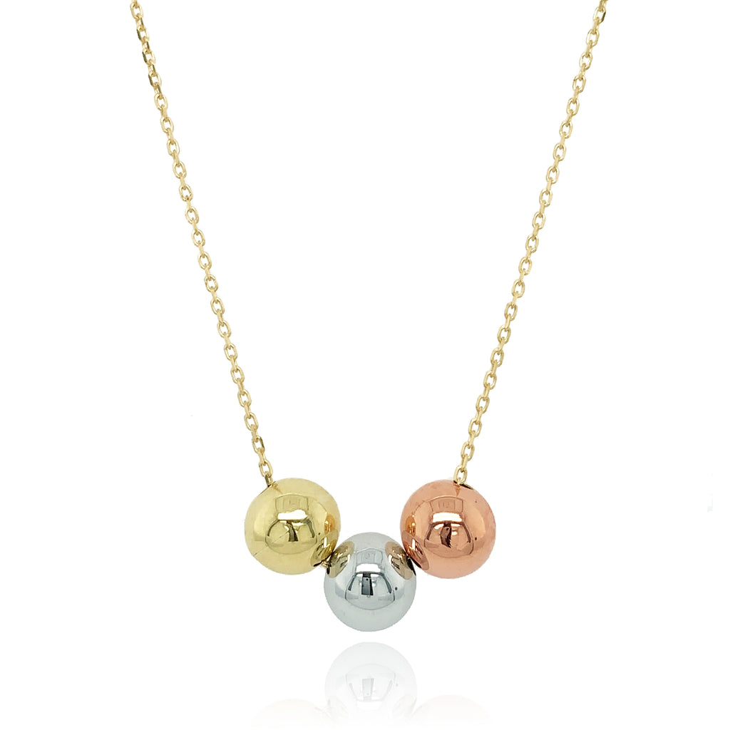 9ct Three Colour Ball Necklace