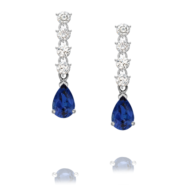 Sapphire and Diamond long drop earrings