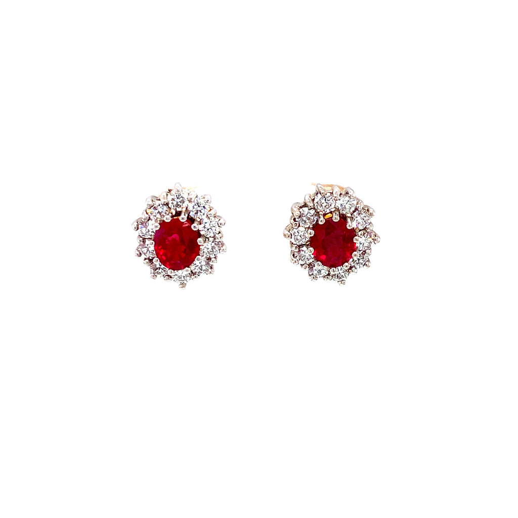 18ct Yellow Gold Ruby and Diamond Earrings