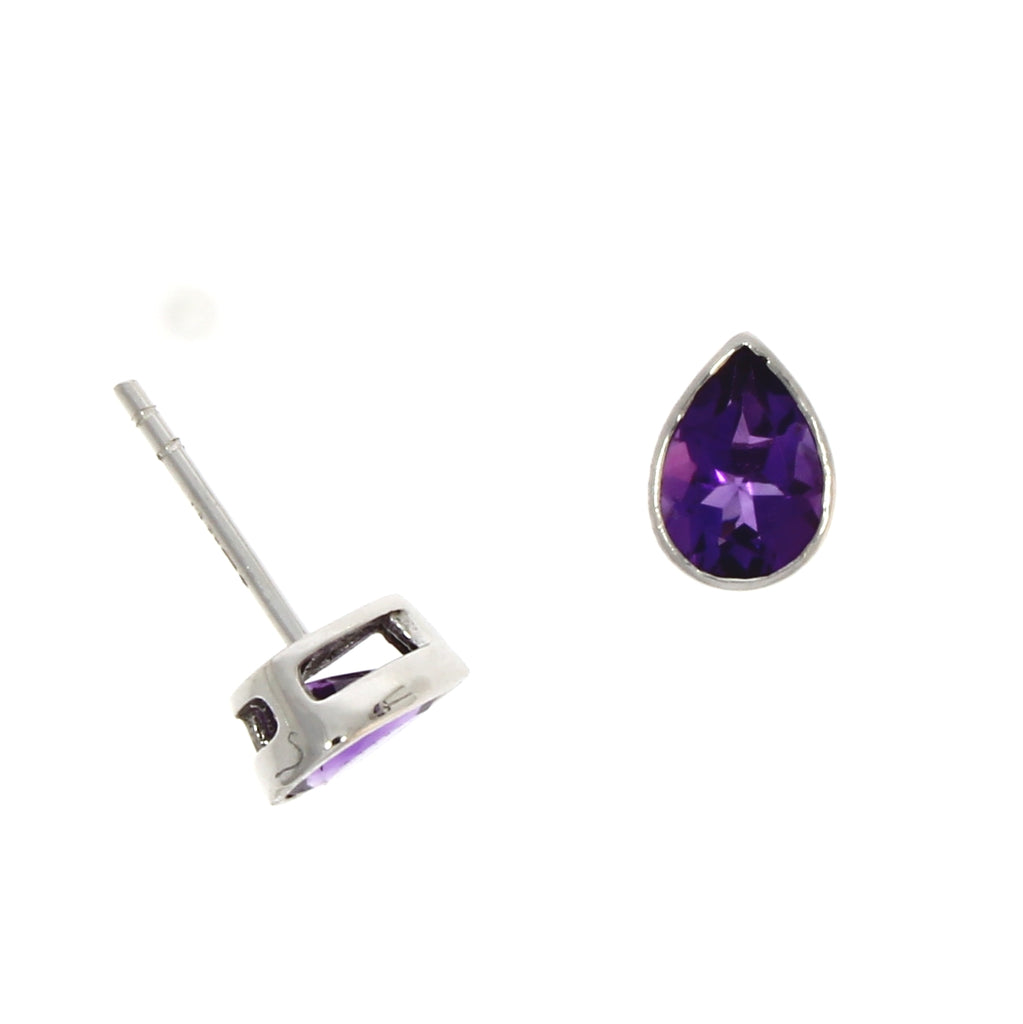 9ct White Gold Amethyst Studs
