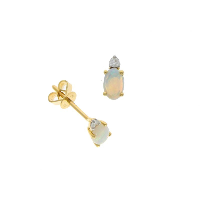 18ct Opal & Diamond Oval / Brilliant Cut Claw Set Studs