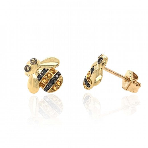 9ct Yellow Gold Citrine and Diamond Bee Earrings