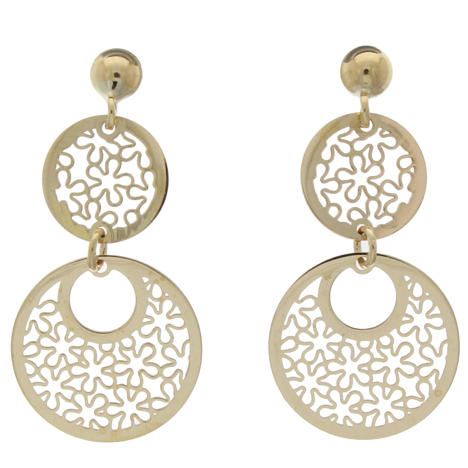 9ct Yellow Gold Double Disc Earrings
