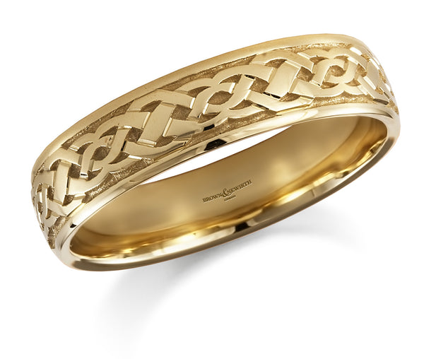 9ct Yellow Gold Narrow Celtic Band