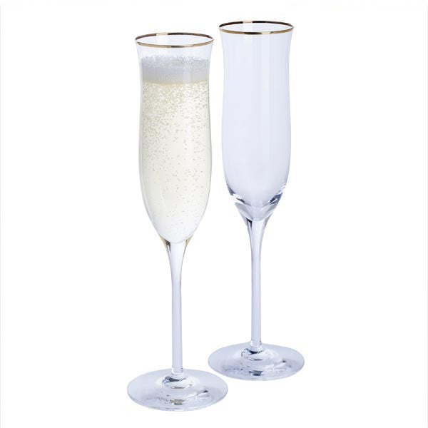 Celebration Gold Rim Flute Pair