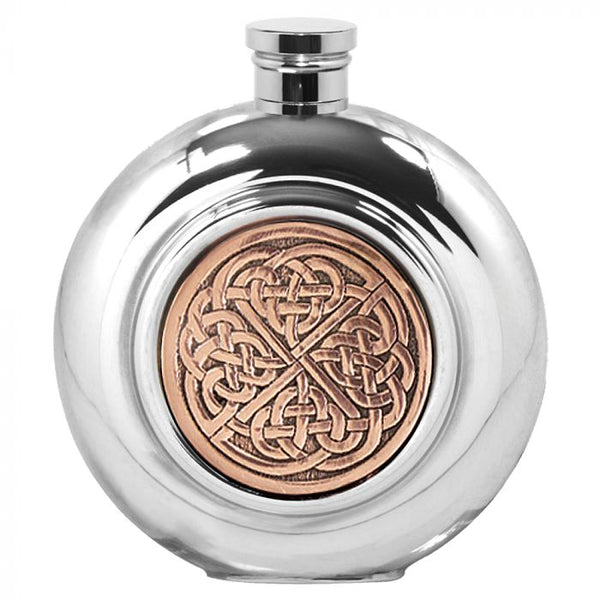Celtic Rose Pewter Hip Flask