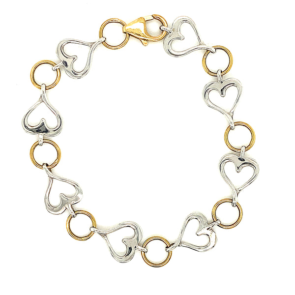 9ct Two Tone Heart Bracelet