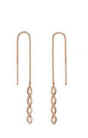 9ct Rose Gold Chain Drop Earrings