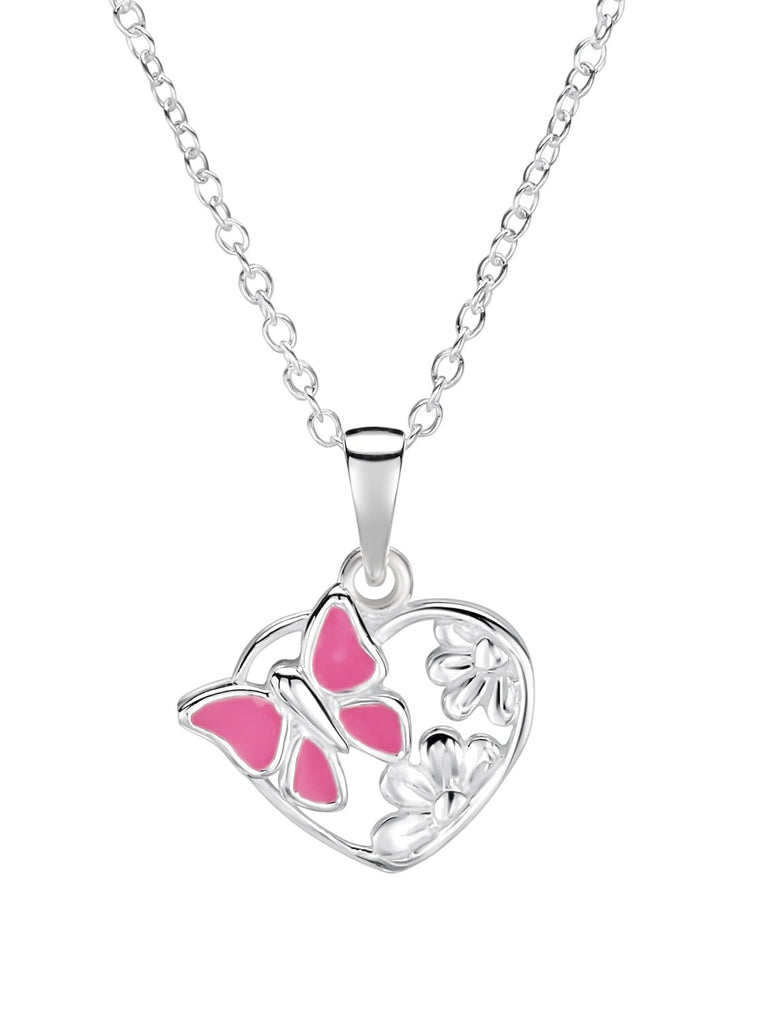 Pink Butterfly Heart Necklace