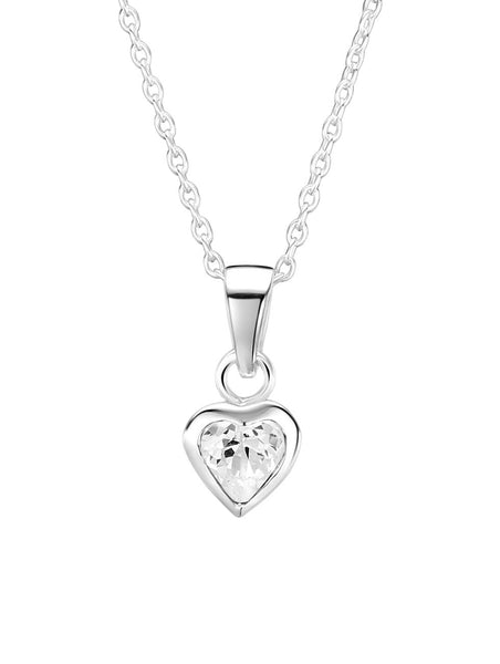 Clear CZ Heart Necklace