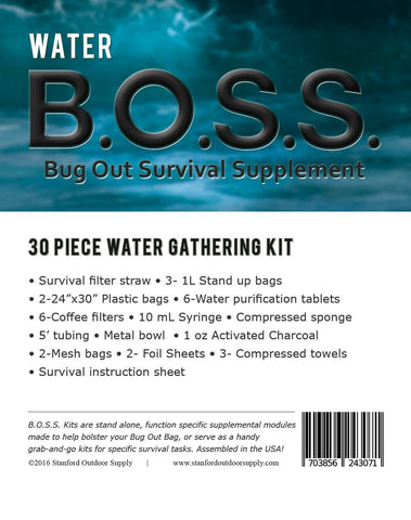 ***Pre-Order*** Water B.O.S.S.- Bug Out Survival Supplement