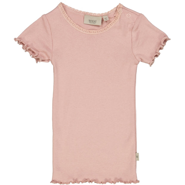 Wheat Kortærmet Blonde Rib T-Shirt Jersey Tops and T-Shirts 2270 misty rose
