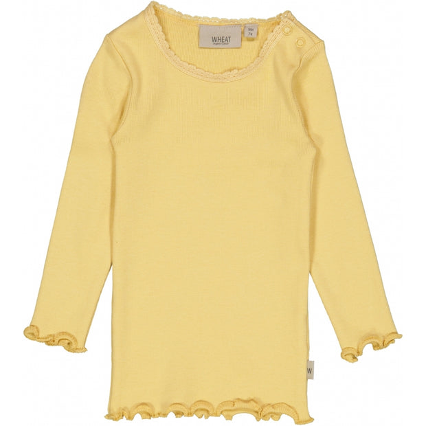 Wheat Langærmet Blonde Rib T-shirt Jersey Tops and T-Shirts 5083 sahara sun