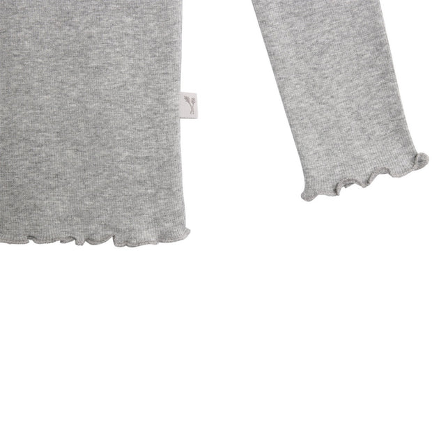 Wheat Rib T-Shirt Lace Jersey Tops and T-Shirts 0224 melange grey