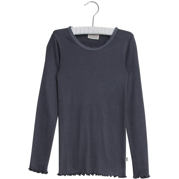 Wheat Rib T-Shirt Lace Jersey Tops and T-Shirts 1292 greyblue
