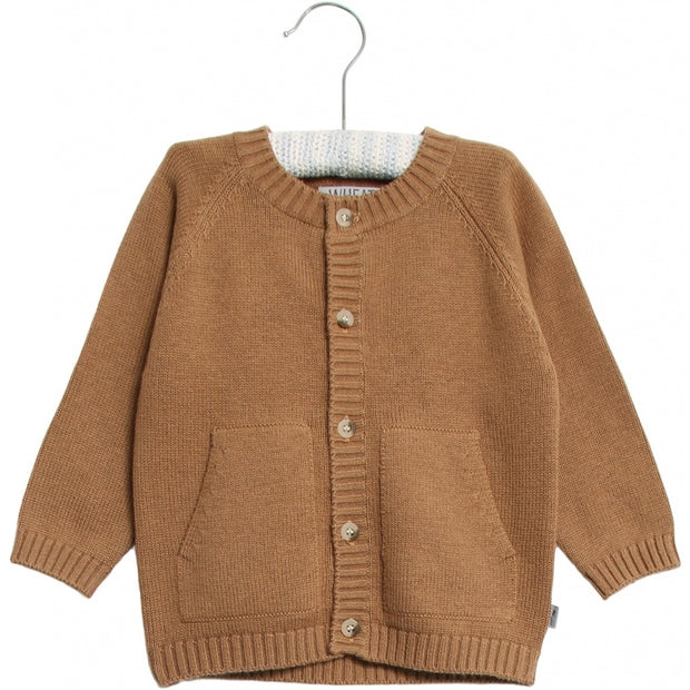 Wheat Strik Cardigan Knitted Tops 5073 caramel