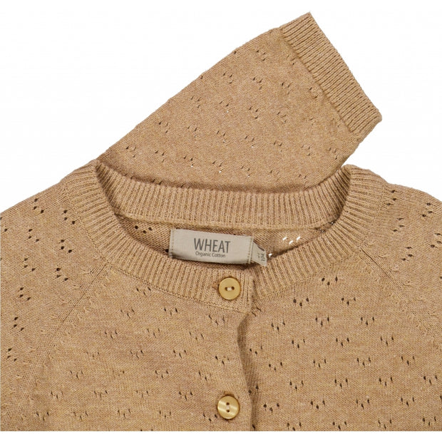 Wheat Strik Cardigan Maja Knitted Tops 3230 sand melange