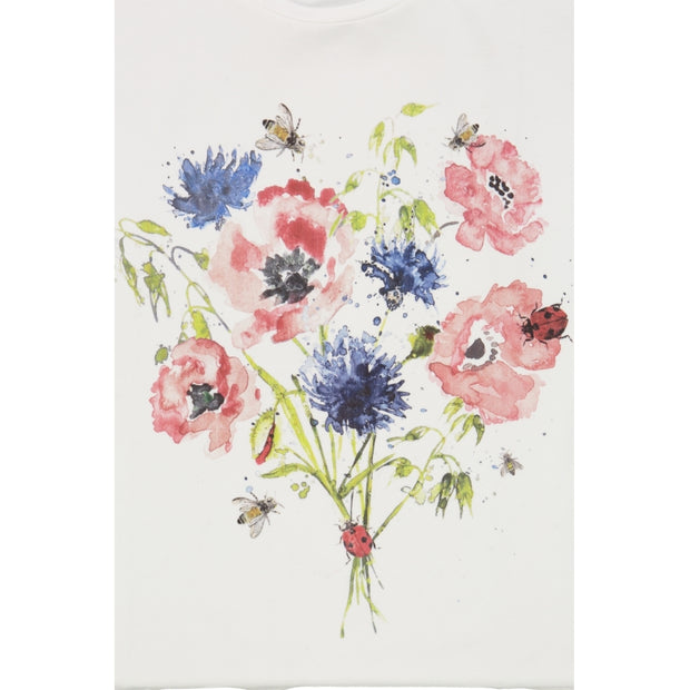 Wheat T-Shirt Water Colour Blomster Jersey Tops and T-Shirts 3182 ivory