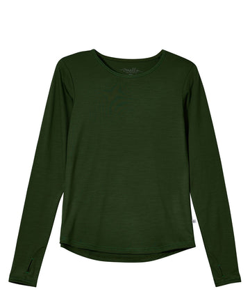Womens' EverLong Merino Tee in 190g Italian Spun - Forest Green