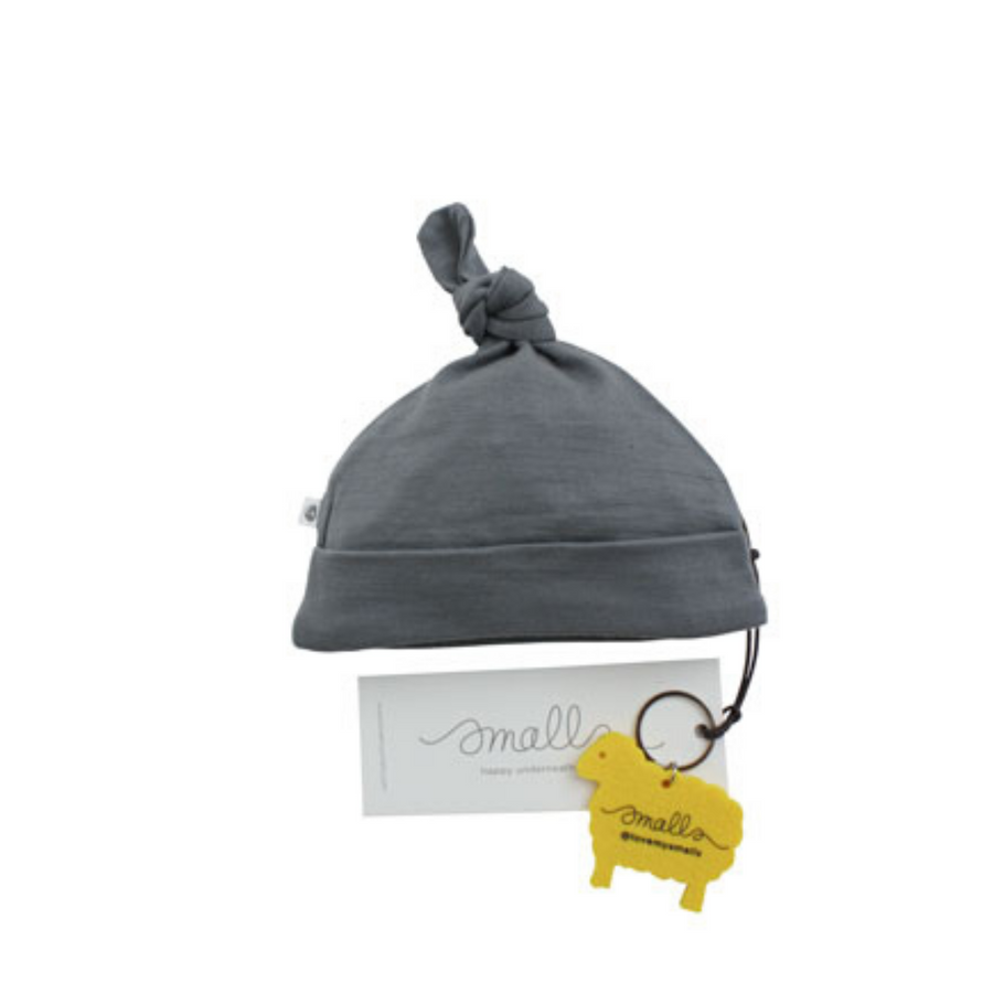 Aroha Baby Hat in Grey Yellow