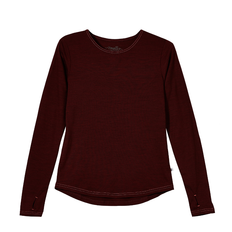 Womens' EverLong Merino Tee in 190g Italian Spun - Berry Marle