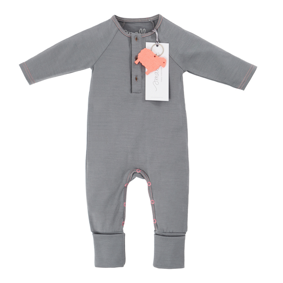 Aroha Baby Onesie in Grey Yellow