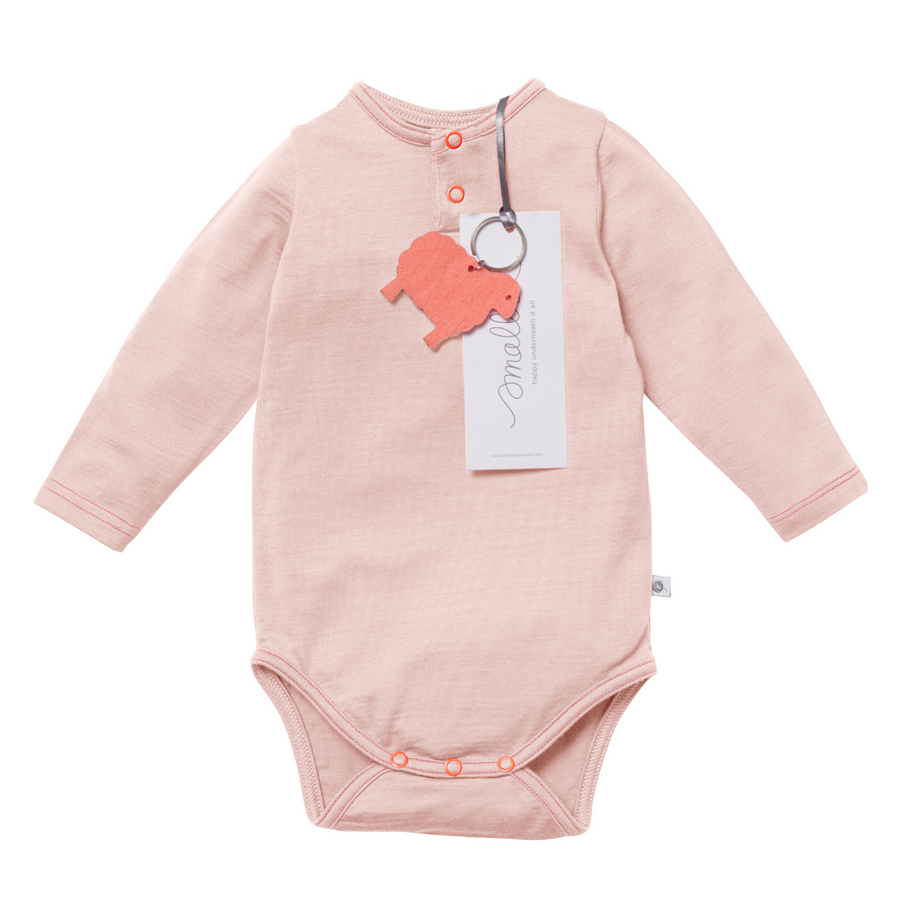 Aroha Baby Bodysuit in Grey Pink
