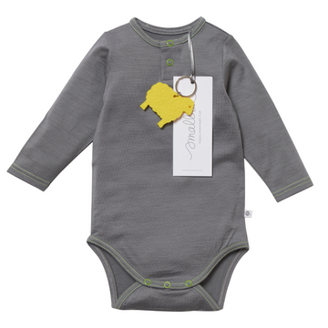Aroha Baby Bodysuit in Grey Yellow