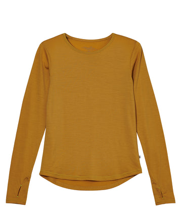 Women's Ever Long Merino Tee 190g - Mustard