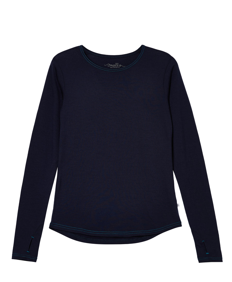 Women's Ever Long Merino Tee 190g - French Navy