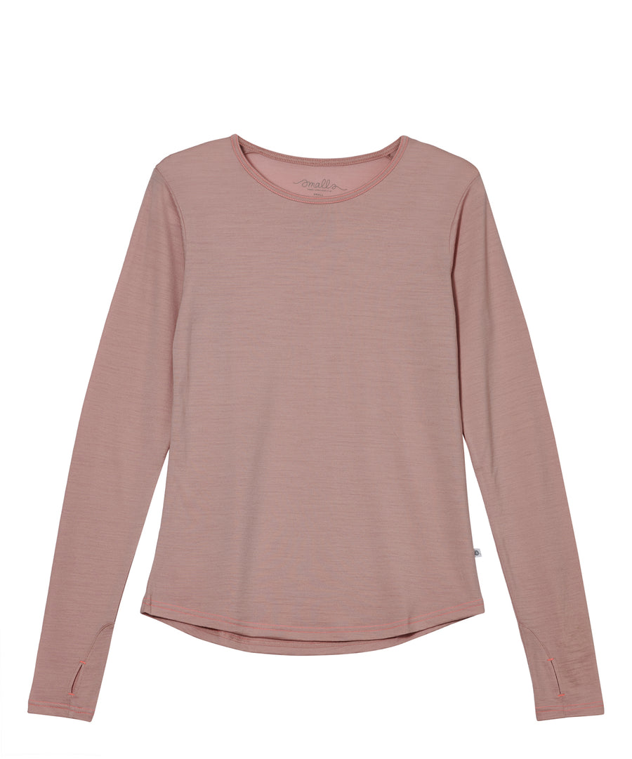 Women's Ever Long Merino Tee 190g - Misty Rose