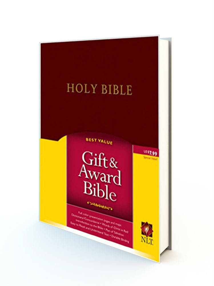 Gift & Award Bible - NLT Burgundy Leather Cover - Redemption Store