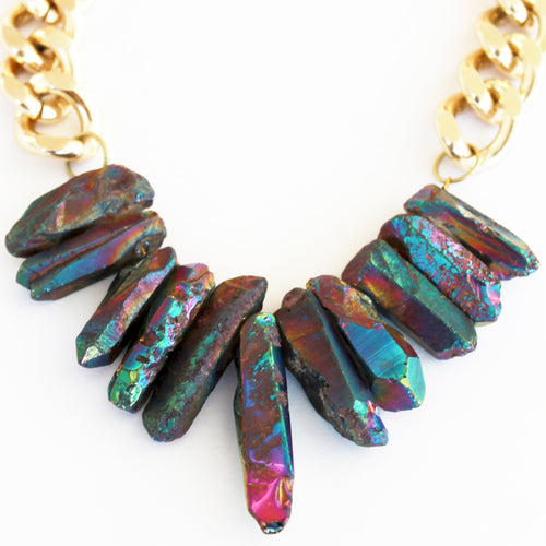 Rocked Up Necklace (Mermaid rainbow)