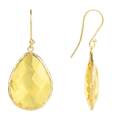 Gold Single Drop Earring Citrine Hydro