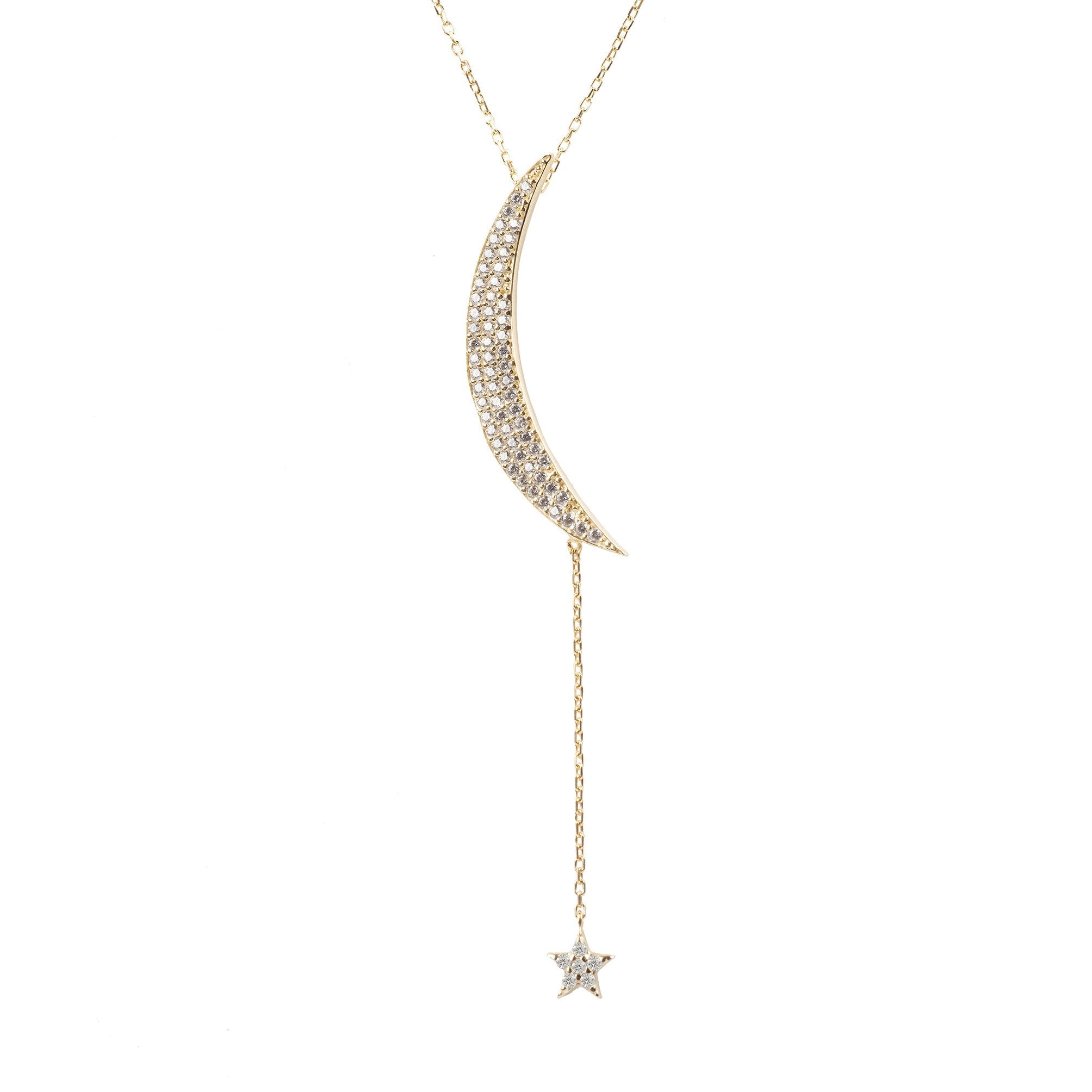 Large moon and star necklace Gold White CZ