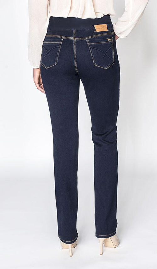 Carreli Jeans Angela Highest Rise Pull on Straight Leg Solid Blue