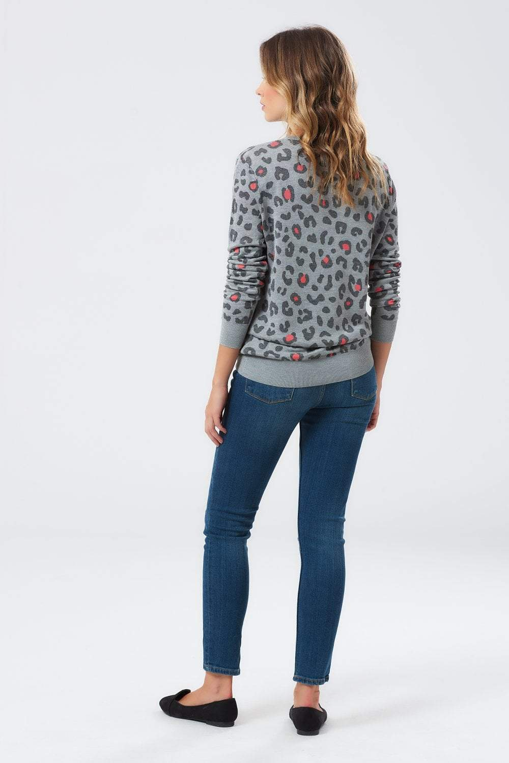 Sugarhill Callie Leopard Colour Pop Sweater in Grey