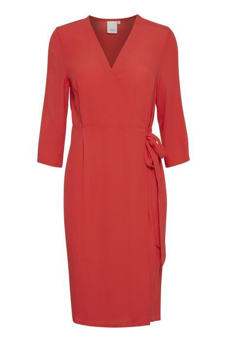 Ichi Aurora Wrap Style Crepe Dress in Rouge