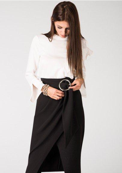 Closet of London Black Crepe Circle Ring Wrap Skirt