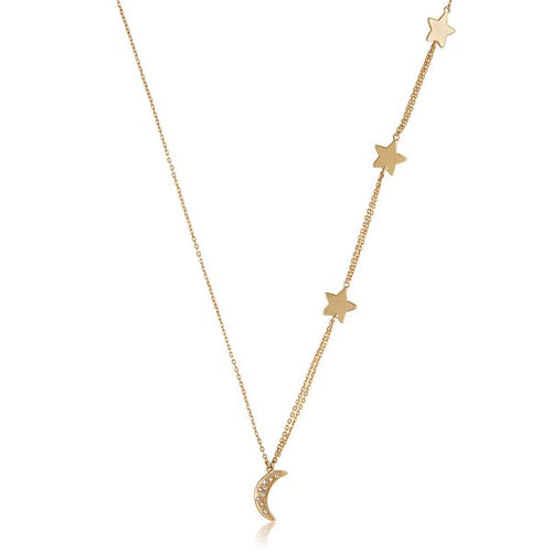 Melinda Maria Shiny Moon and Star necklace in 18kt gold