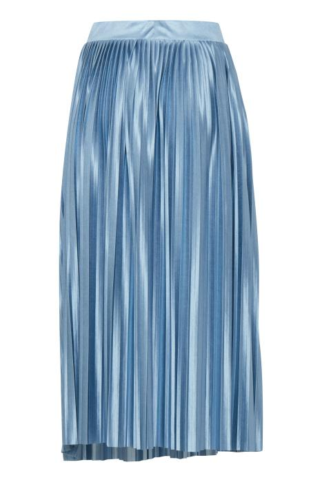 Ichi Blue Satin pleated skirt