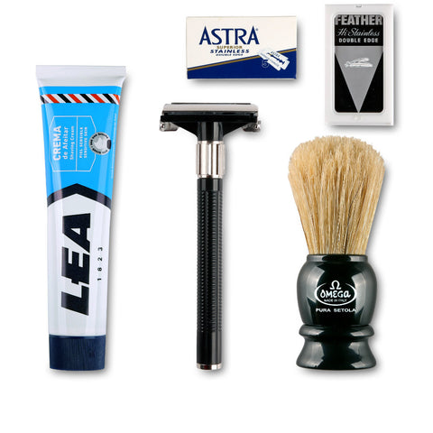 Starterkit mit Feather Rasierhobel - No More Beard