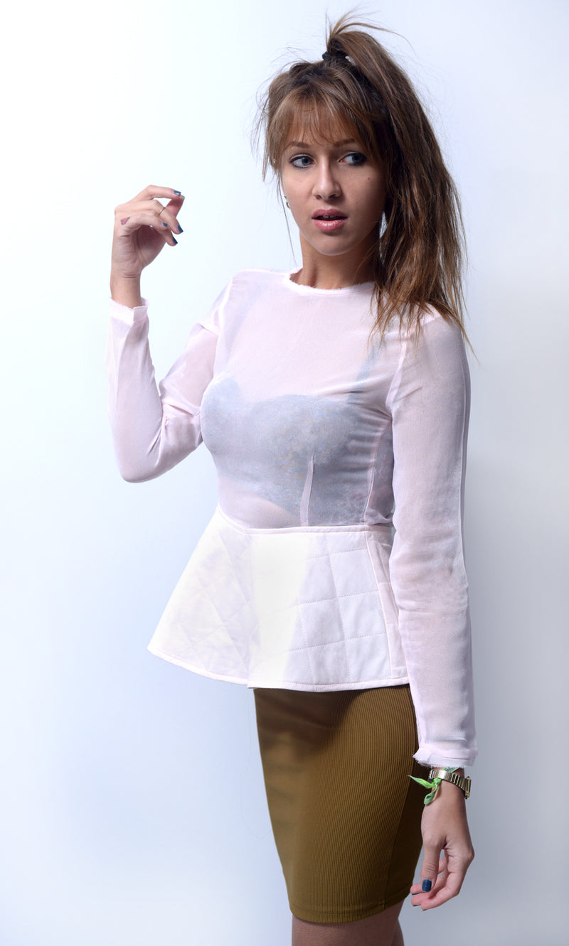 Top Peplum rose pétale