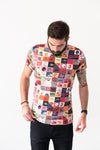 t-shirt patchwork imprimé all over porté de face