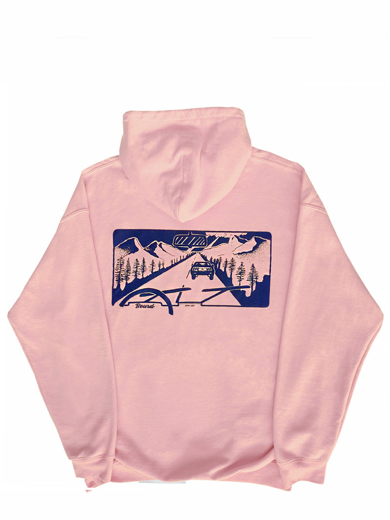 baby pink hoodie with the road print on the back from Beurd