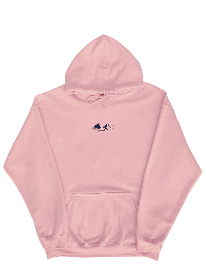 baby pink hoodie with mountain print from Beurd