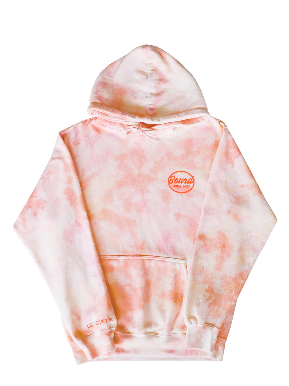 Hoodie tie and dye rose pale orange fait pour une collaboration avec LG Canada et Beurd photo à plat de l'avant du hoodie