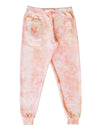 Sweatpants tie and dye rose pale orange fait pour une collaboration avec LG Canada et Beurd photo a plat de l'avant du sweatpants