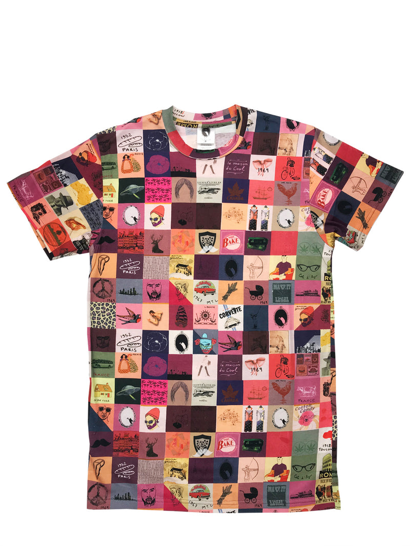 t-shirt homme patchwork imprimé all over de face